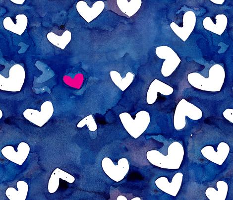 cestviv_one pink heart (new) fabric by cest_la_viv on Spoonflower - custom fabric
