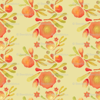 granada_floral__yellow_ochre_field