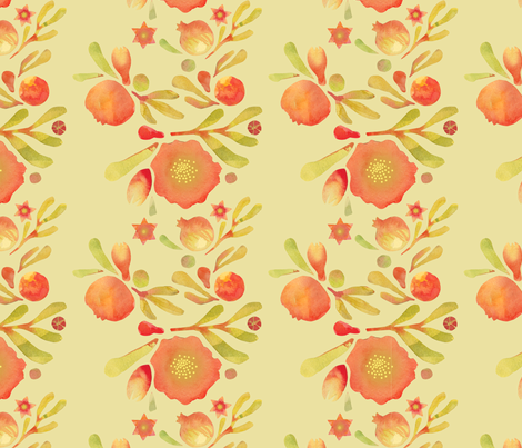 granada_floral__yellow_ochre_field fabric by bee&lotus on Spoonflower - custom fabric