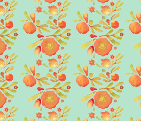 granada_floral_aqua_field fabric by bee&lotus on Spoonflower - custom fabric