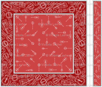 Bluegrass_BANDana_and_headband_white_on_dark_red