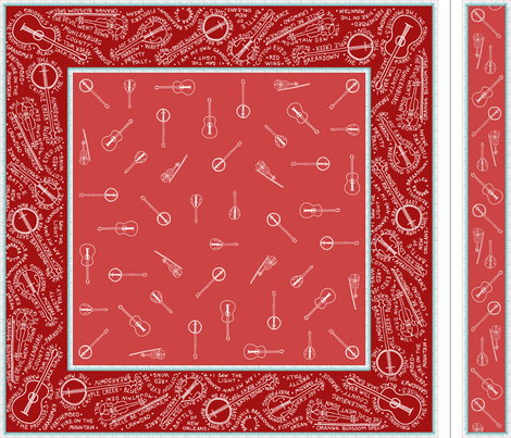 Bluegrass_BANDana_and_headband_white_on_dark_red fabric by victorialasher on Spoonflower - custom fabric