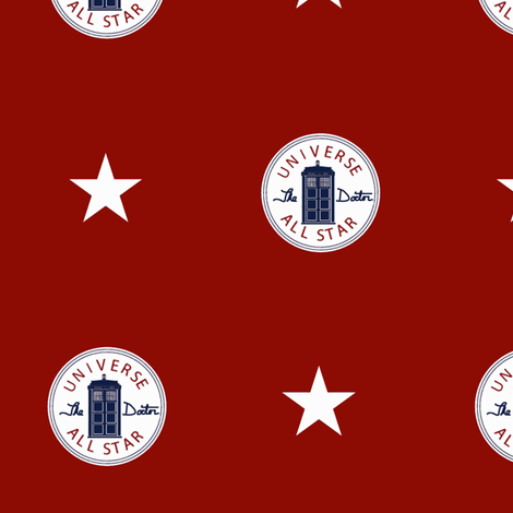 Universe All Star on Red fabric by jackiefour on Spoonflower - custom fabric
