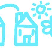 Suburban Scene in Blue