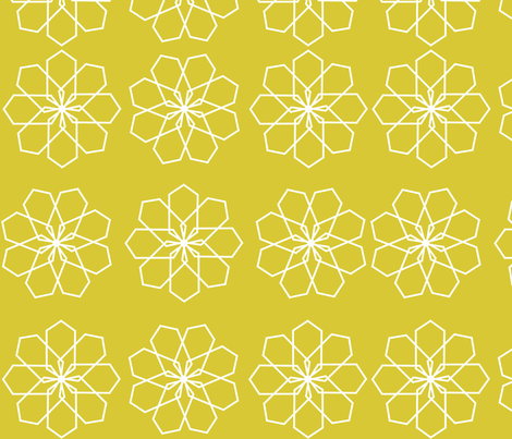 Geomodern Flower in citron fabric by bexcaliber on Spoonflower - custom fabric