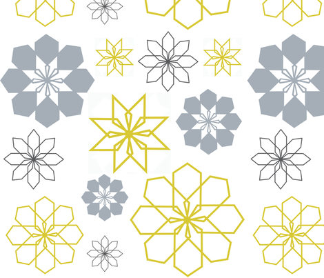 Garden Walk in ash, citron and slate fabric by bexcaliber on Spoonflower - custom fabric