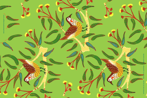 Wattle Bird Tea Towel fabric by yellowstudio on Spoonflower - custom fabric