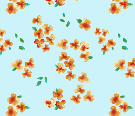 Large Flowers on Blue fabric by fig+fence on Spoonflower - custom fabric