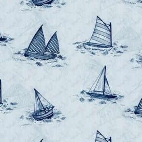Antique Sailboats - Blue