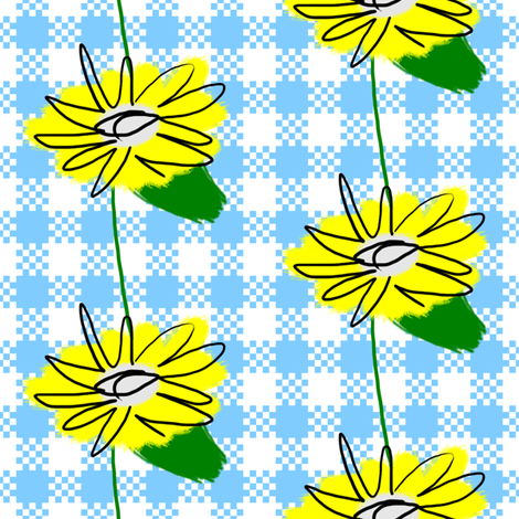 Large Dandelion Flowers on Gingham fabric by fig+fence on Spoonflower - custom fabric