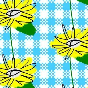 Large Dandelion Flowers on Gingham