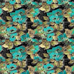 Rockabilly Rose dark background Turquoise