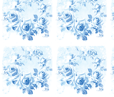 Blue Rose Tea in Blueberry Blue fabric by lilyoake on Spoonflower - custom fabric