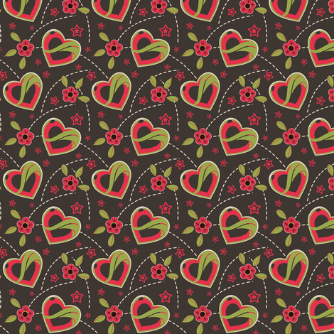 Juicy Red Hearts & Flowers fabric by eppiepeppercorn on Spoonflower - custom fabric