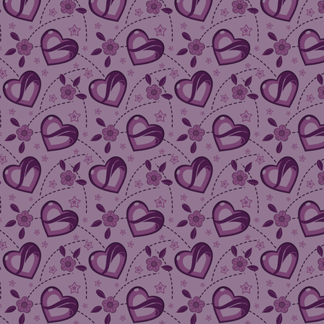 Lavender Purple Kei Hearts fabric by eppiepeppercorn on Spoonflower - custom fabric