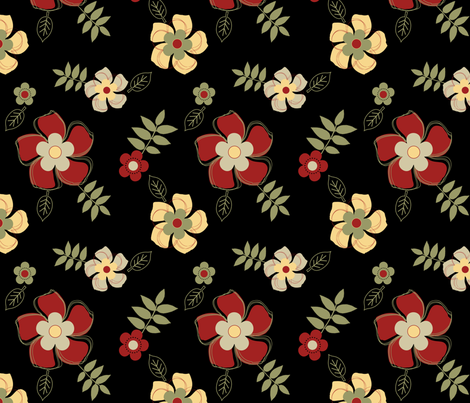 Flowers in the Dark fabric by jpdesigns on Spoonflower - custom fabric