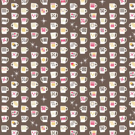 King of Cups (Short Americano) || vintage coffee mugs retro kitchen geometric fire king milk glass midcentury modern atomic fabric by pennycandy on Spoonflower - custom fabric