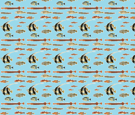 fish blue fabric by flyingfish on Spoonflower - custom fabric