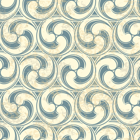 Vintage pattern with waves fabric by antuanetto on Spoonflower - custom fabric