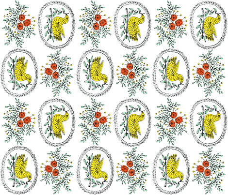Birds and roses fabric by yellowstudio on Spoonflower - custom fabric