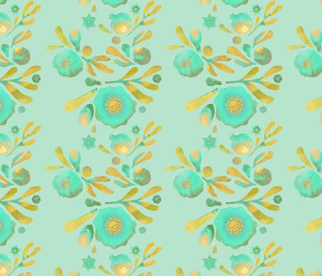 granada_floral_aqua_aqua_field fabric by bee&lotus on Spoonflower - custom fabric