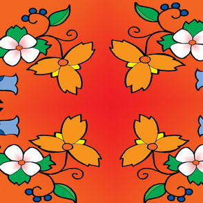 Orange Ojibwa Floral