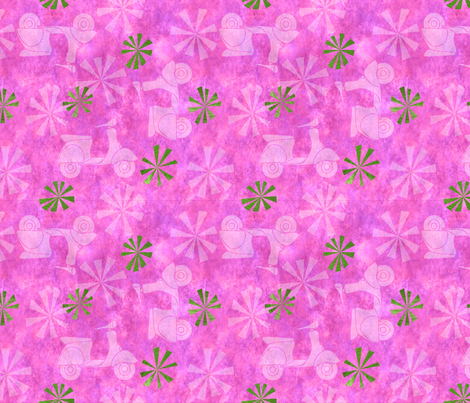 Mod sccoters in pink  fabric by vo_aka_virginiao on Spoonflower - custom fabric