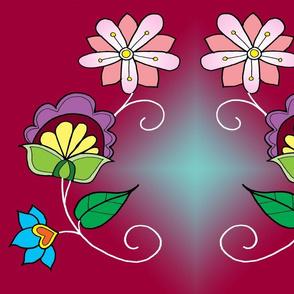 ojbwe flowers in burgendy