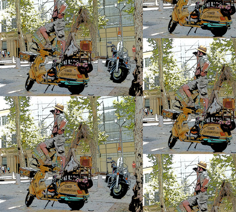 Motorcycle Performance Art in Aix-en-Provence, France fabric by susaninparis on Spoonflower - custom fabric