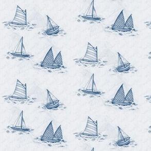 MINI Antique Sailboats - Blue