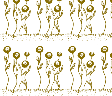 closed_flowers-copper fabric by kcs on Spoonflower - custom fabric