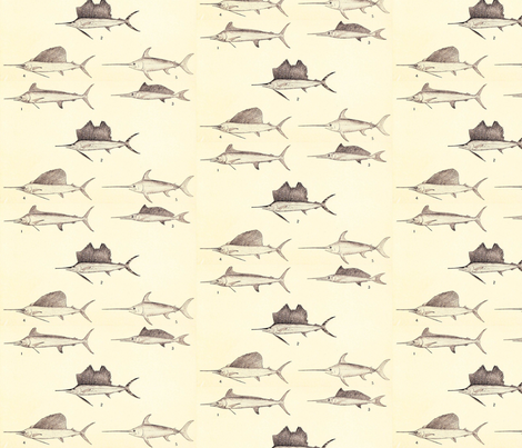 Swordfish and Sailfish fabric by flyingfish on Spoonflower - custom fabric