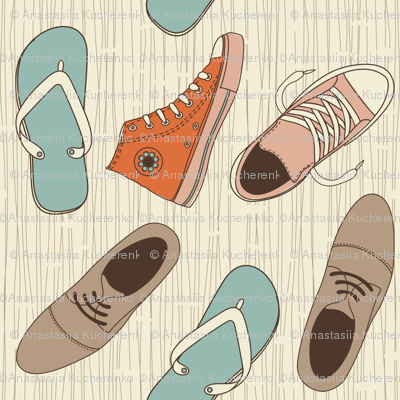 funky shoes vector pattern