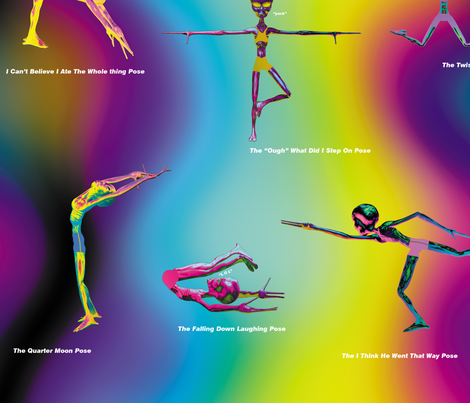 Yoga Aliens, L fabric by animotaxis on Spoonflower - custom fabric