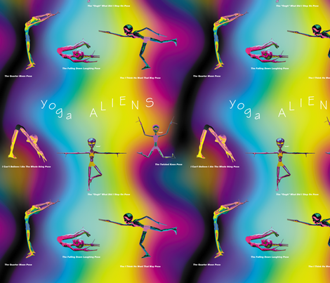 Yoga Aliens, M fabric by animotaxis on Spoonflower - custom fabric
