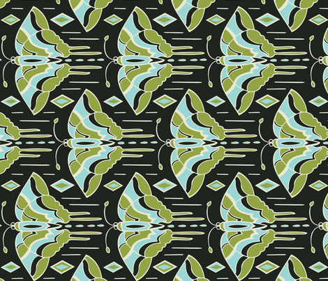 La maison des papillons - Butterflies Black fabric by heatherdutton on Spoonflower - custom fabric