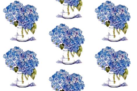 Hydrangea repeat fabric by karenharveycox on Spoonflower - custom fabric