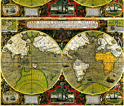 Restored Vintage World Map fabric by whimzwhirled on Spoonflower - custom fabric
