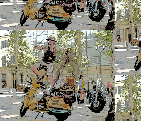 Motorcycle Performance Art in Aix-en-Provence, France - 2-ed fabric by susaninparis on Spoonflower - custom fabric