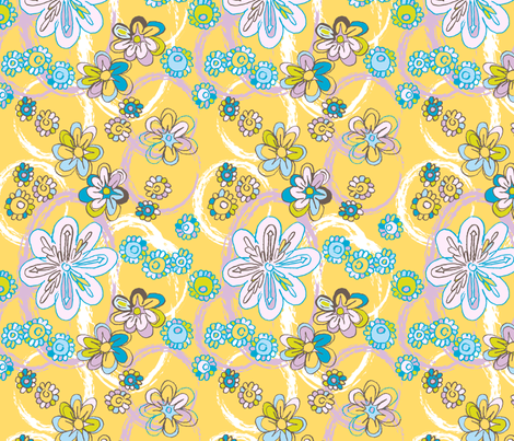 Flowery_spring_sketch_ fabric by niceandfancy on Spoonflower - custom fabric