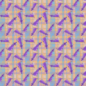 Whimsical Purple Dogs on Melon Teal Plaid