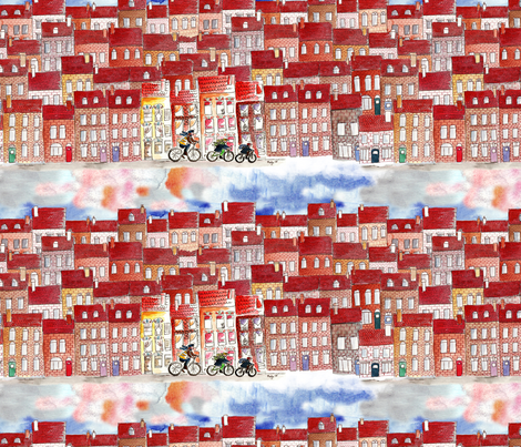 city on bike fabric by nadja_petremand on Spoonflower - custom fabric