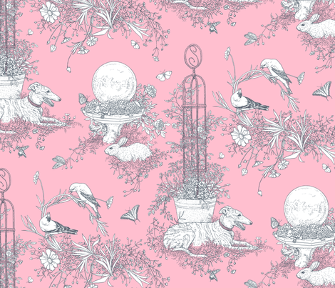 Pink and Gray Garden Toile Large ©2011 by Jane Walker fabric by artbyjanewalker on Spoonflower - custom fabric