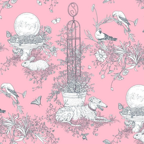 Pink and Gray Garden Toile Large ©2011 by Jane Walker