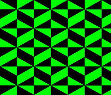 Green Block Illusion fabric by sterlingrun on Spoonflower - custom fabric
