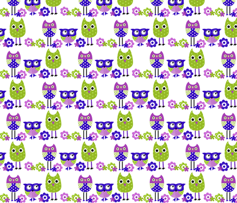 Whimsy Owls Blues fabric by natitys on Spoonflower - custom fabric