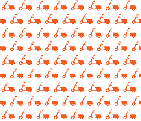 Tangerine Scooters On White fabric by natitys on Spoonflower - custom fabric