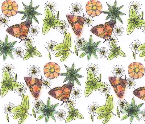 A Pair of Moths in the Garden fabric by owlandchickadee on Spoonflower - custom fabric