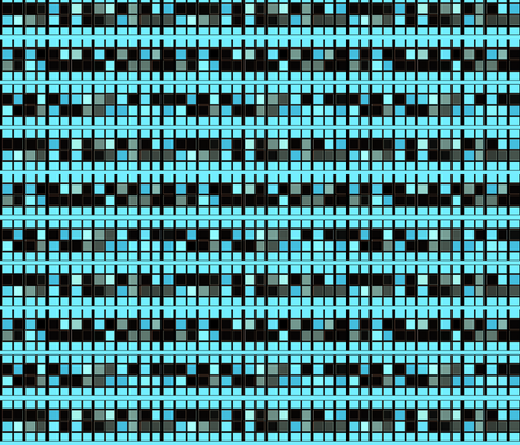 Black and Aqua Tiled Mosaic © Gingezel™ 2012 fabric by gingezel on Spoonflower - custom fabric