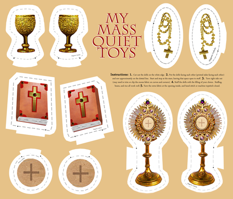 Catholic Mass plushie quiet toys cut and sew fabric by magneticcatholic on Spoonflower - custom fabric